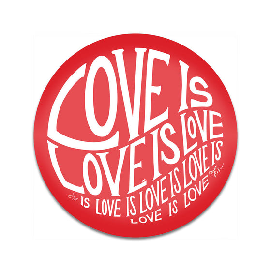 "Circle of Love - Red - 3"" Button Magnet"