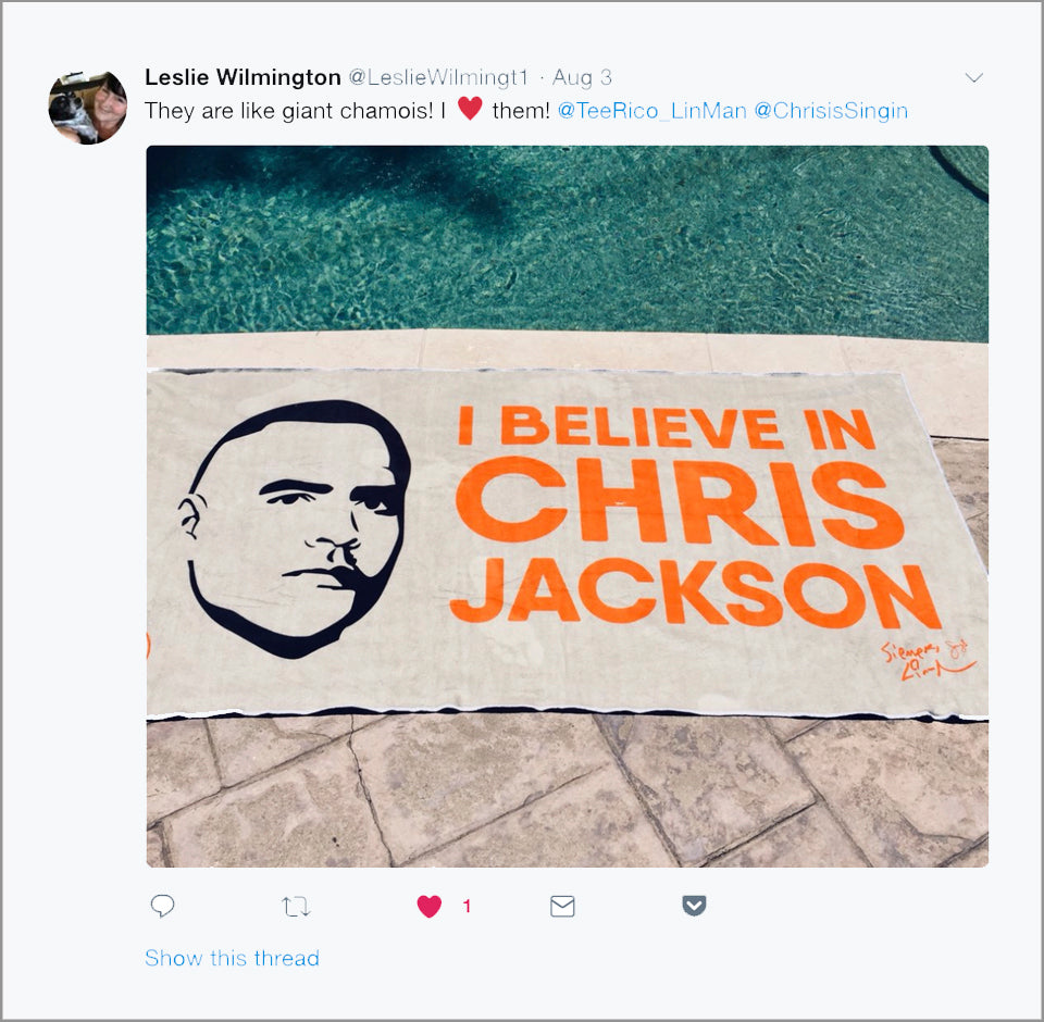 "I Believe in Chris Jackson - 30""x60"" Towel"
