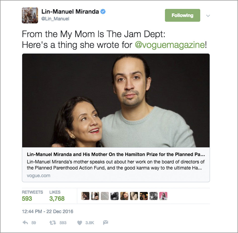 "My Mom is the Jam - Lin-Manuel Handwriting - 5X7"" Flat Magnet"