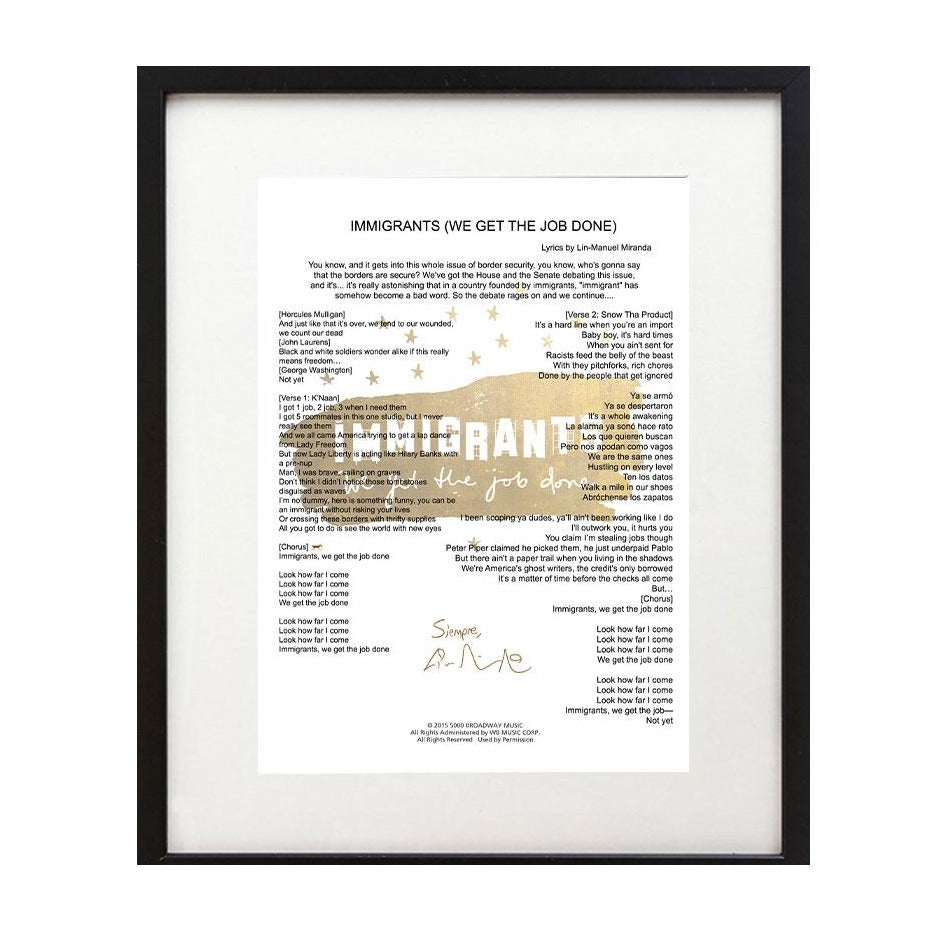 "Hamilton ""Immigrants We Get the Job Done"" 8 X 10 Print - Lin-Manuel"