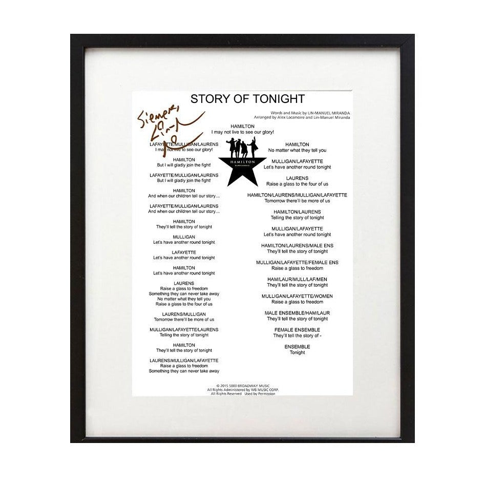 "Hamilton ""The Story of Tonight"" 8X10 Music Sheet"