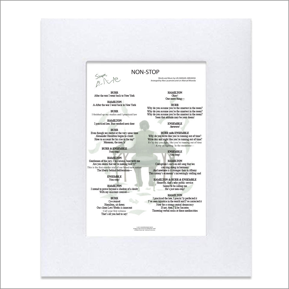 "Hamilton ""Nonstop"" 8""x10"" Music Sheet"