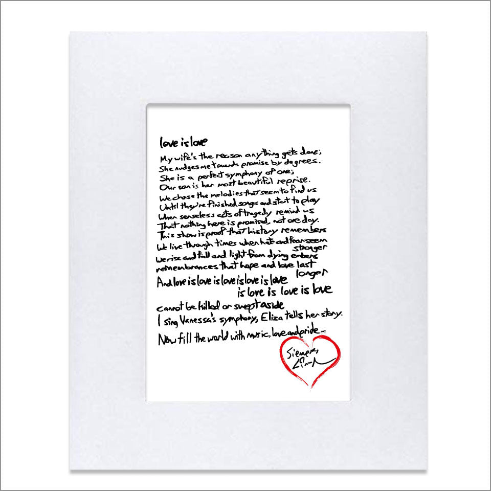 "Lin-Manuel Handwritten ""Love is Love"" Sonnet 8""x10"" Art Print"