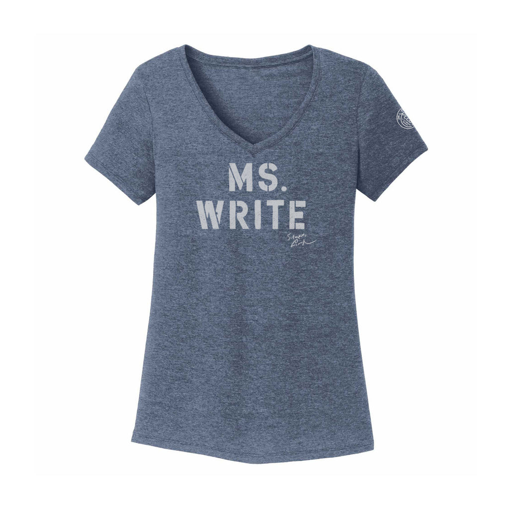 MS. WRITE - Ladies V-Neck - Navy Frost
