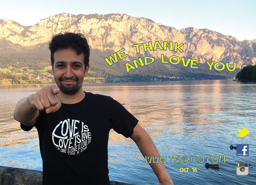 Lin-Manuel October '16 5X7 Thank You Card - Love from Austria!
