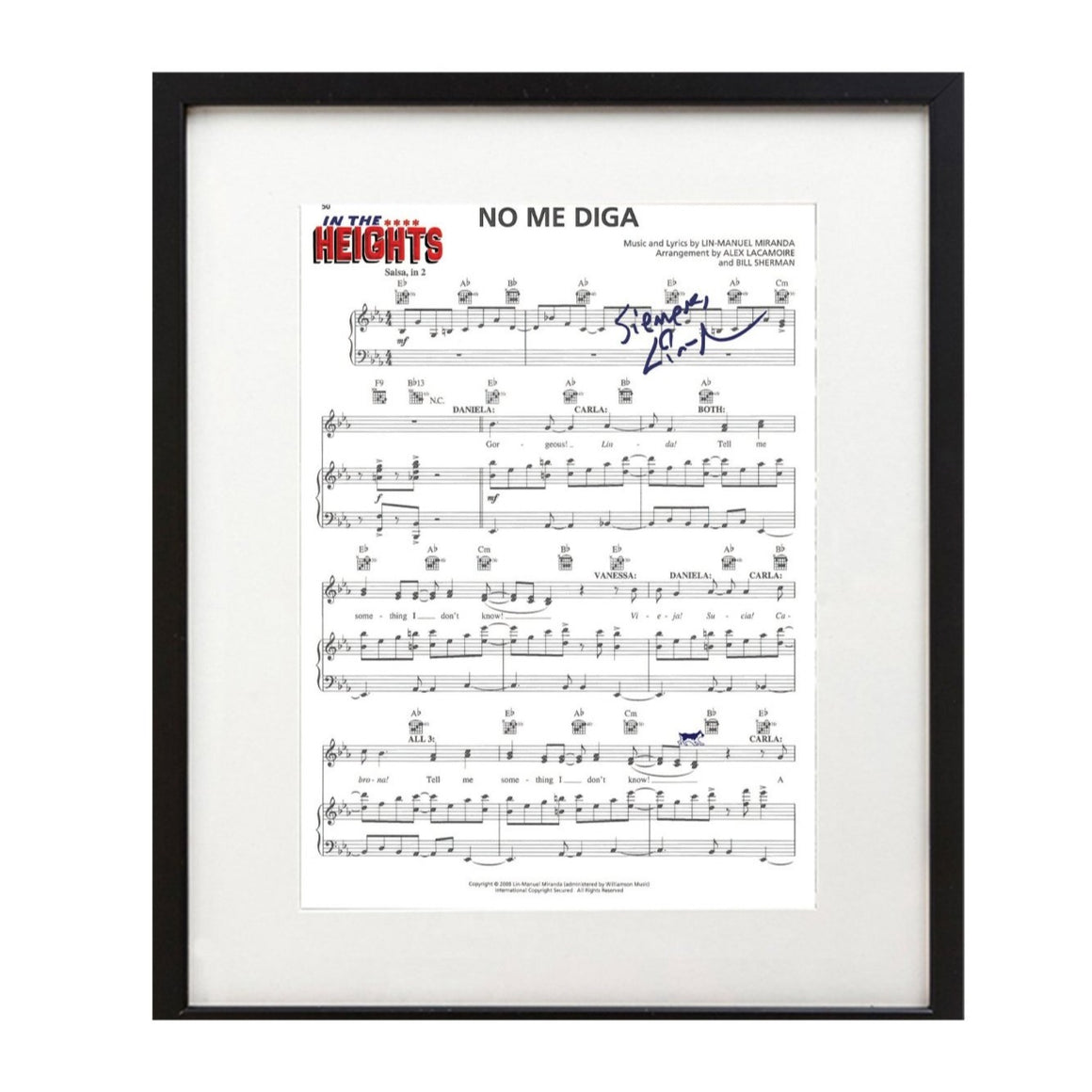 "In the Heights ""No Me Diga"" 8X10 Music Sheet"