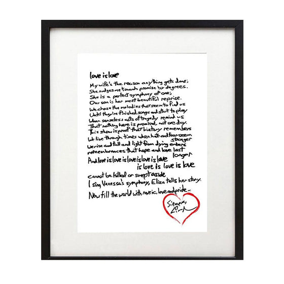Lin-Manuel Handwritten Love is Love Sonnet - 8X10 Art Print - New Item