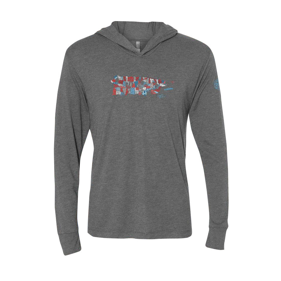 Puerto Rico Town Map - Lightweight Unisexysoft Hoodie