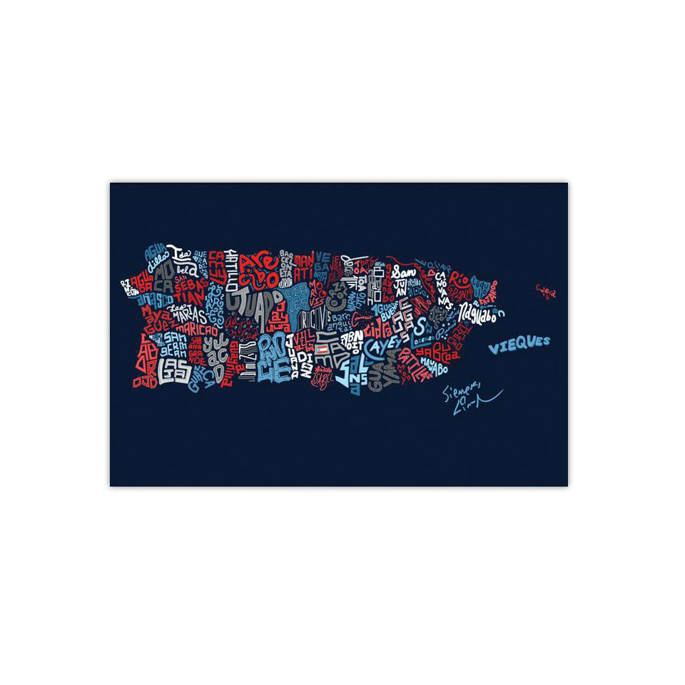 "Puerto Rico Town Map 2""X3"" Vinyl Stickers (2)"