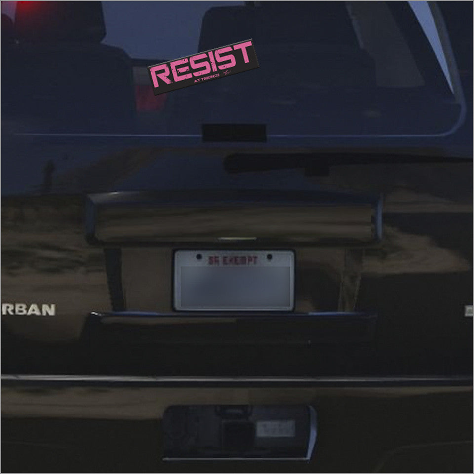 Resist removable vinyl bumper sticker