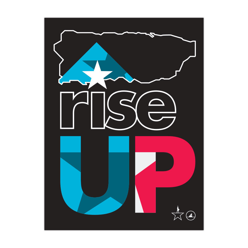 "Rise Up 3""x4"" Removable Vinyl Sticker - Puerto Rico"
