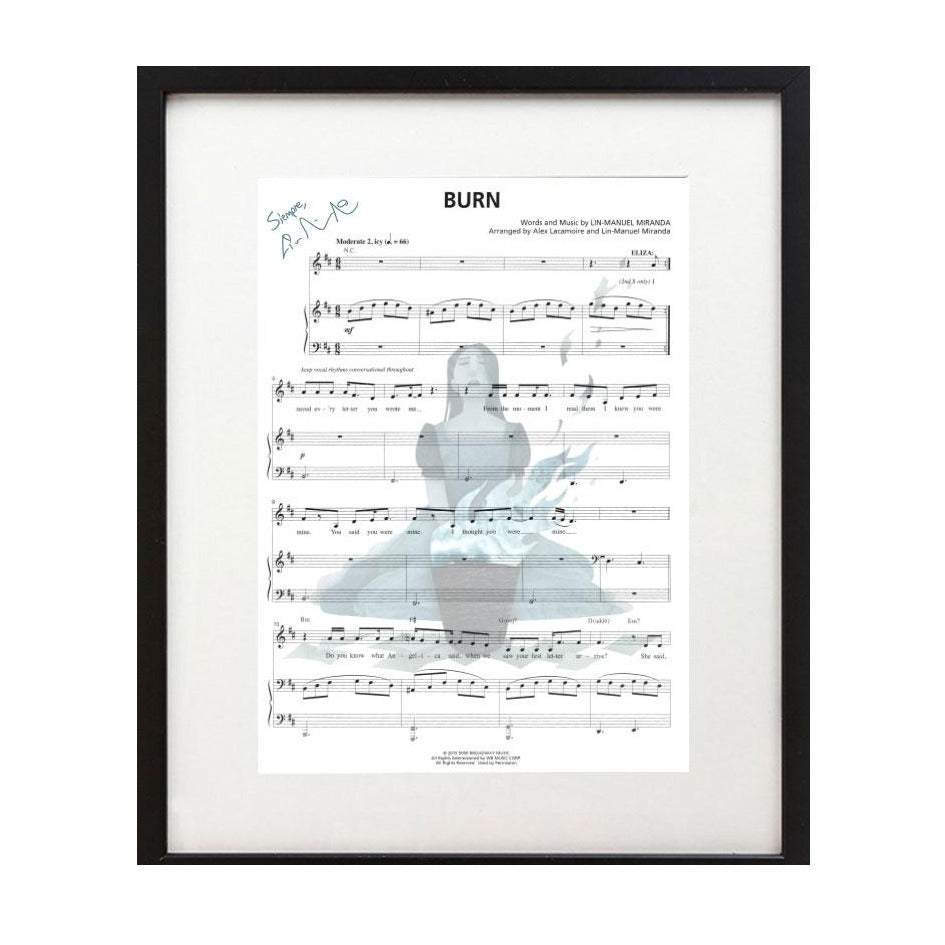 "Hamilton ""Burn"" 8X10 Music Sheet"