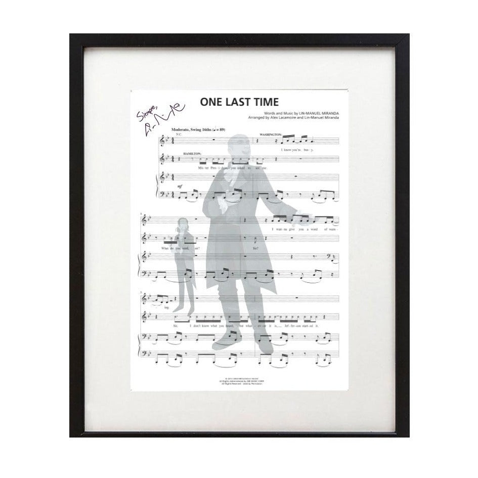 "Hamilton ""One Last Time"" 8X10 Music Sheet"