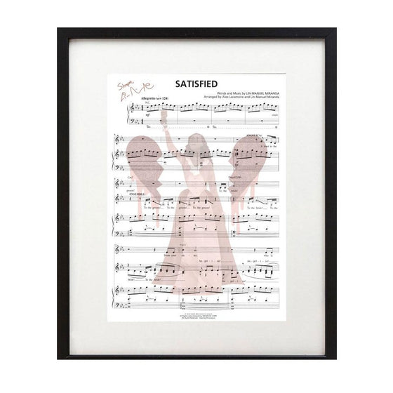 "Hamilton ""Satisfied"" 8X10 Music Sheet"