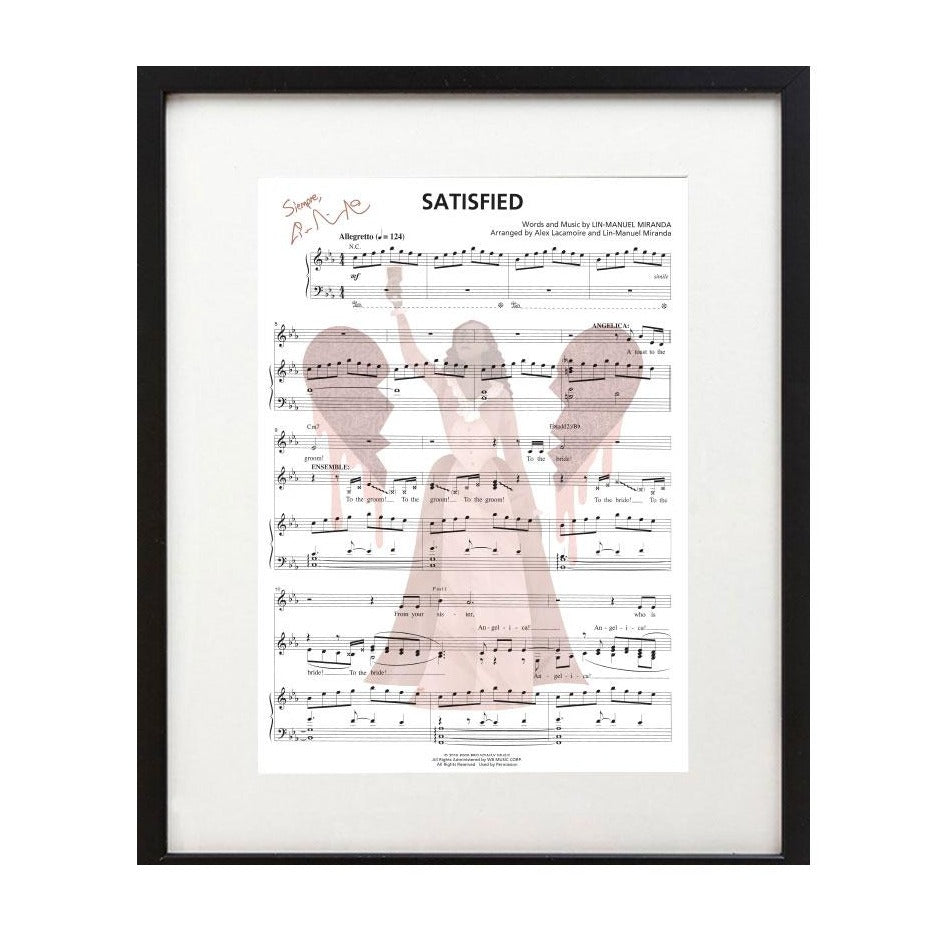 "Hamilton ""Satisfied"" 8""x10"" Music Sheet"