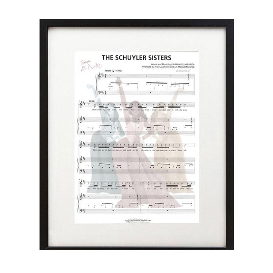 "Hamilton ""Schuyler Sisters"" 8X10 Music Sheet (with free HamilPin!)"