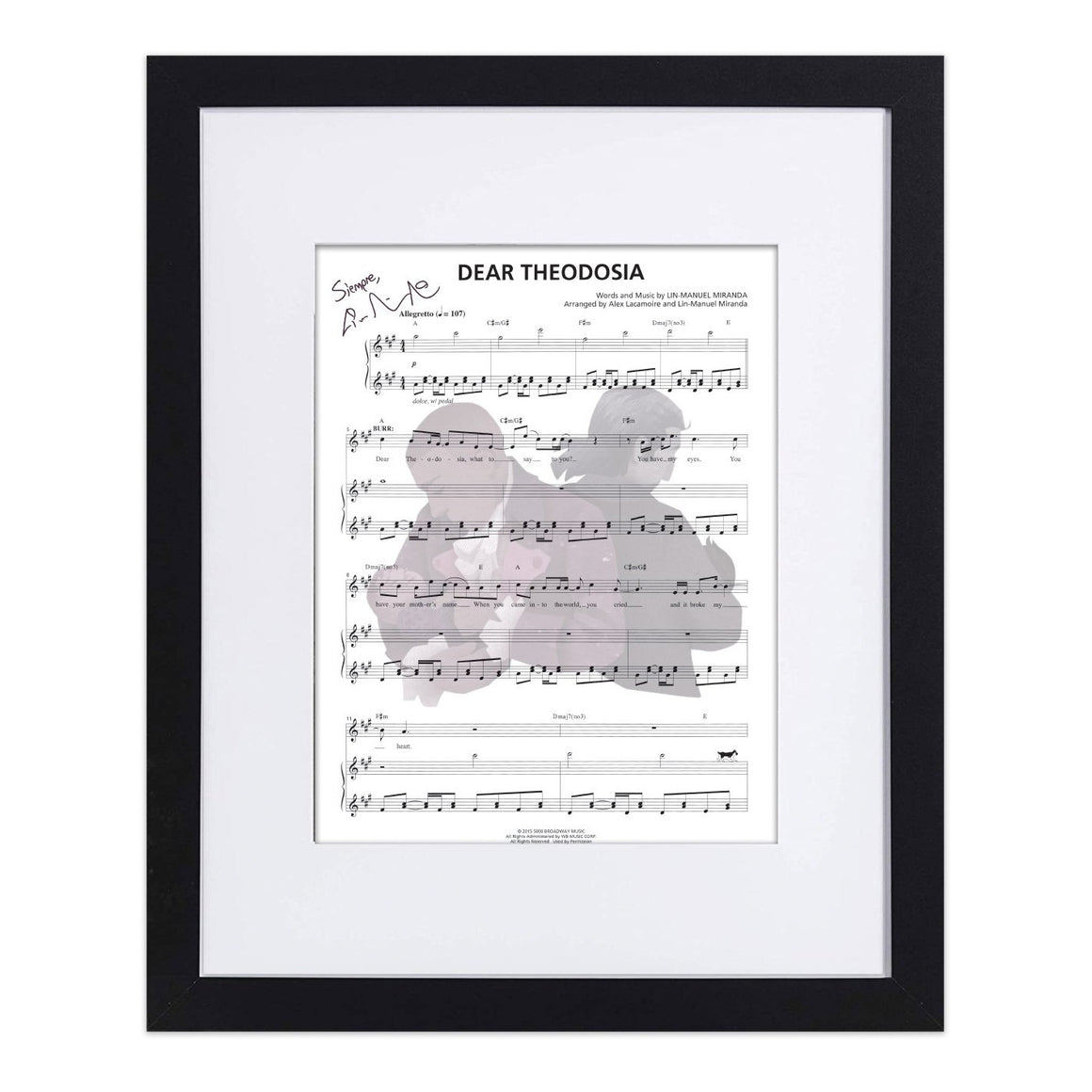 "Hamilton ""Dear Theodosia"" 8X10 Music Sheet"