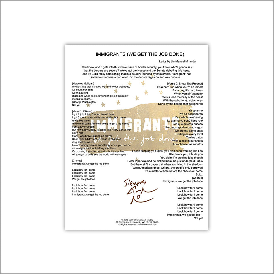 "Hamilton ""Immigrants We Get the Job Done"" 8""x10"" Music Sheet"