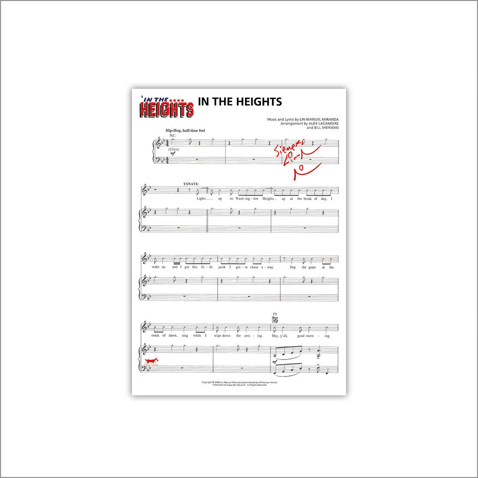 "In the Heights ""En Washington Heights"" 8X10 Music Sheet"