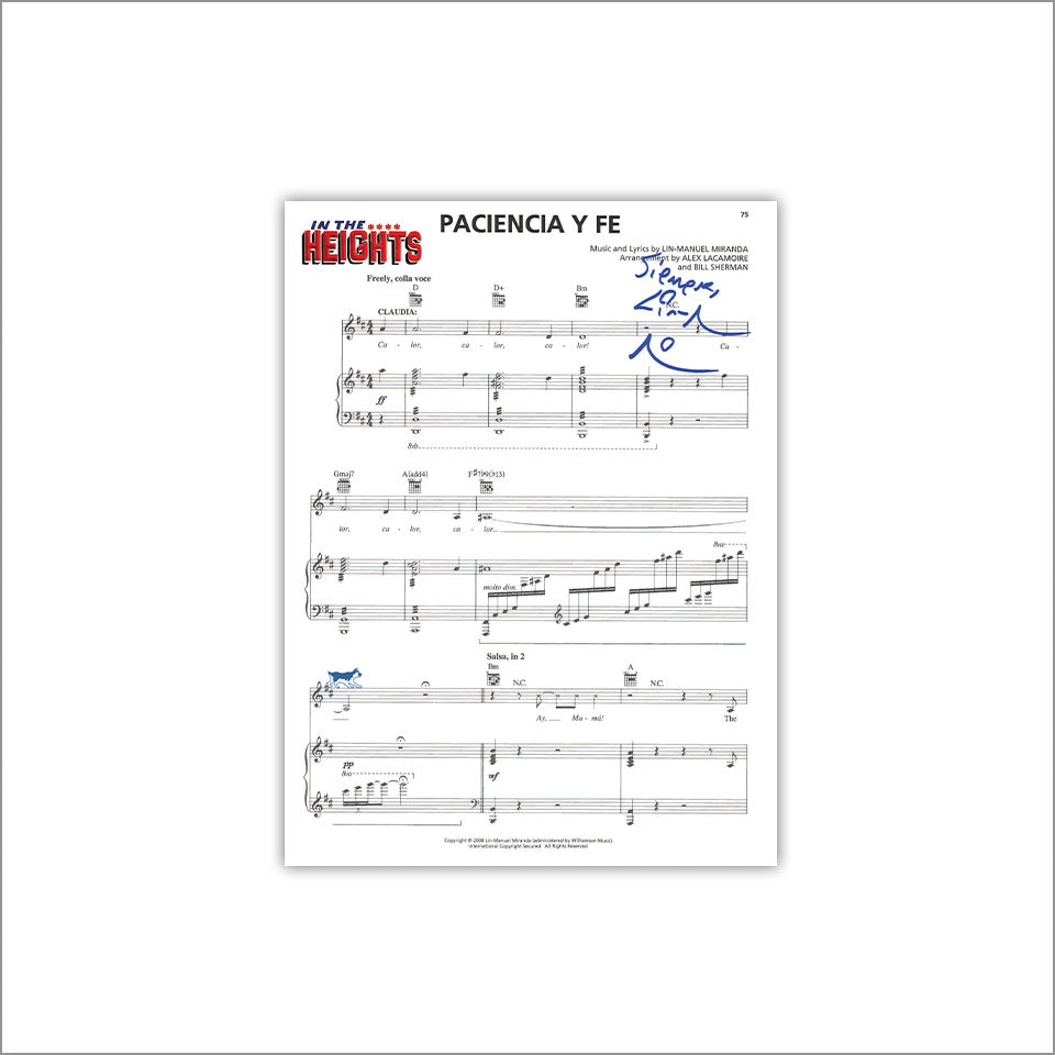 "In the Heights ""Paciencia y Fe"" 8X10"" Music Sheet"