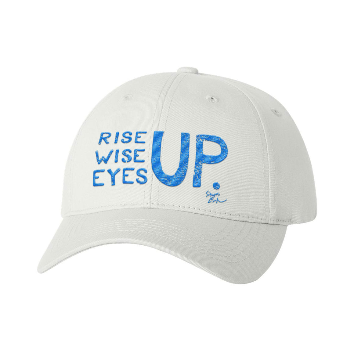 Rise Up, Wise Up, Eyes Up - Baseball Cap (White)