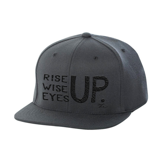 Rise Up, Wise Up, Eyes Up - Dark Gray - Black Flatbrim Cap