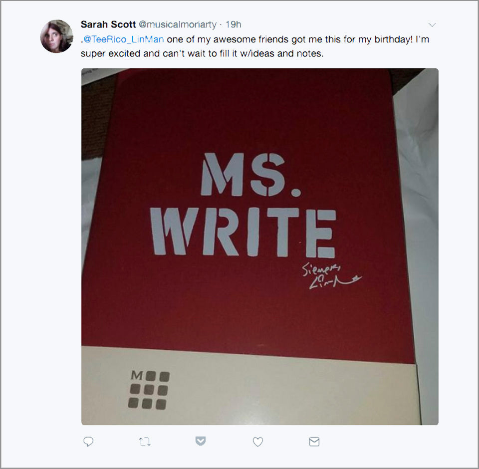 "Lin-Manuel ""MS. WRITE"" 5"" X 8-1/4"" Moleskine Lined Journal"