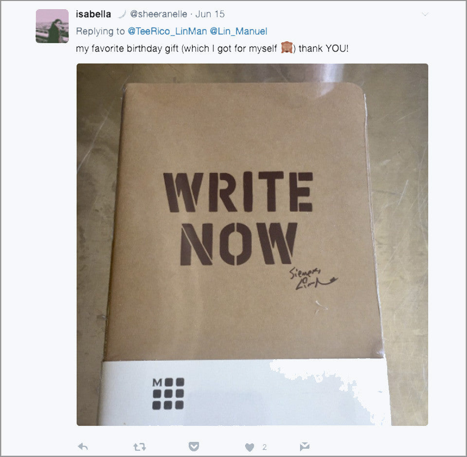"Lin-Manuel ""WRITE NOW"" 5"" X 8-1/4"" Moleskine Lined Journal"