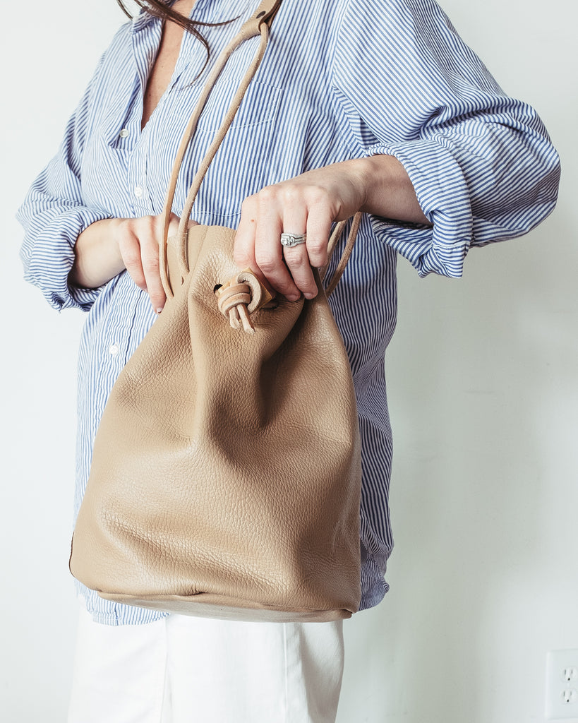 PEBBLED LEATHER BUCKET BAG