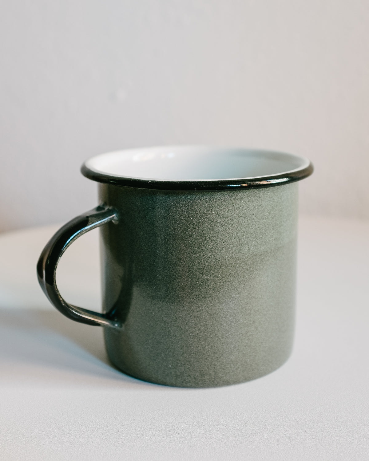 OLIVE ENAMELED METAL MUG
