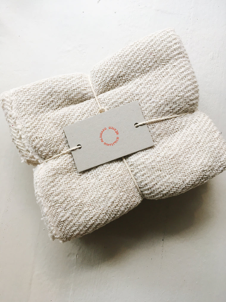 ECRU COTTON TOWEL SET/3