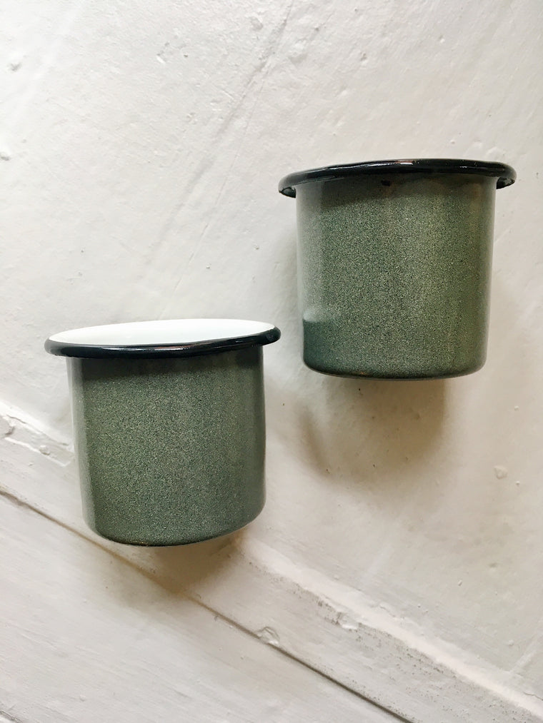 OLIVE ENAMEL METAL 2 OZ CUPS