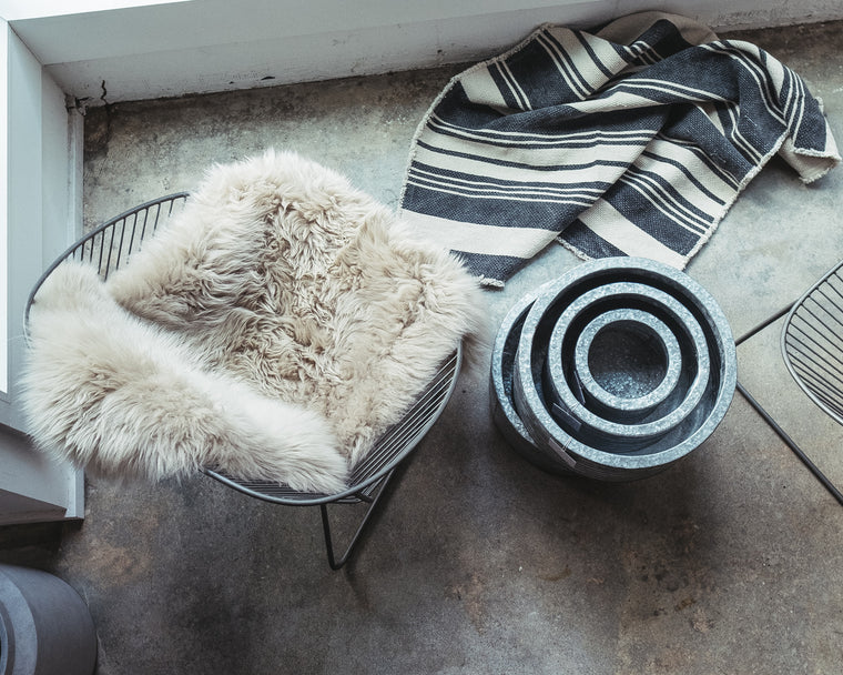 Natural Black Striped Rug