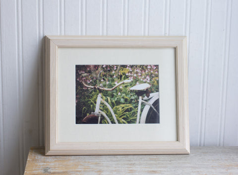 Vintage Bike Photograph - Shabby Cottage Home Decor - Framed Art