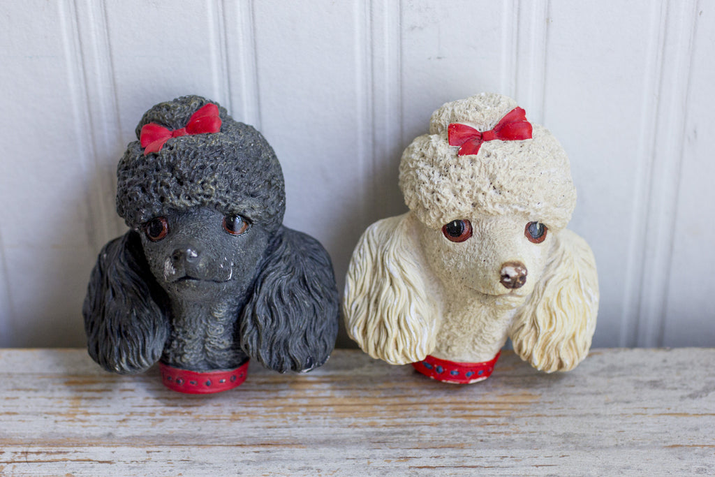 Vintage Black White Poodles - Bossons 1960's Made England