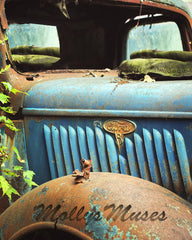 Old Ford Truck Picture - Rustic Blue Truck Art Photograph