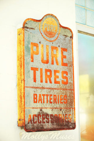 Old Pure Tires Batteries Garage Sign Photograph - Orange