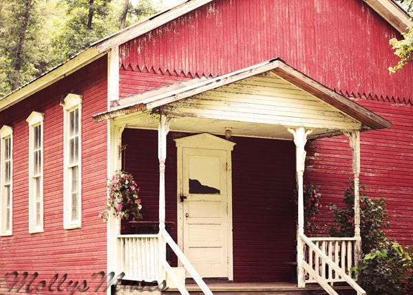 Primitive One Room School House - Red Rustic Country Home Decor