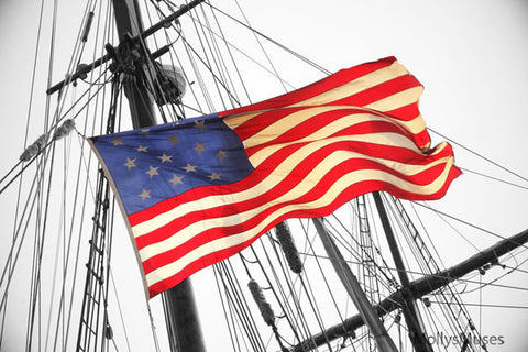 Nautical Tall Sails Ship Photograph - American Flag