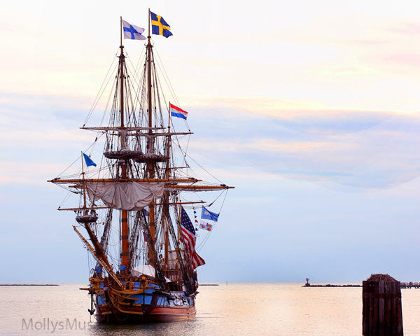 Nautical Seascape - Old World Tall Sails Ship Photo Kalmar Nykel Ship
