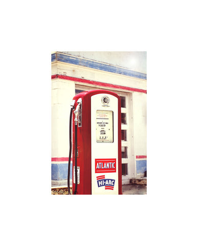 Old Atlantic Gas Station Pump Print - Red White Blue Americana Decor