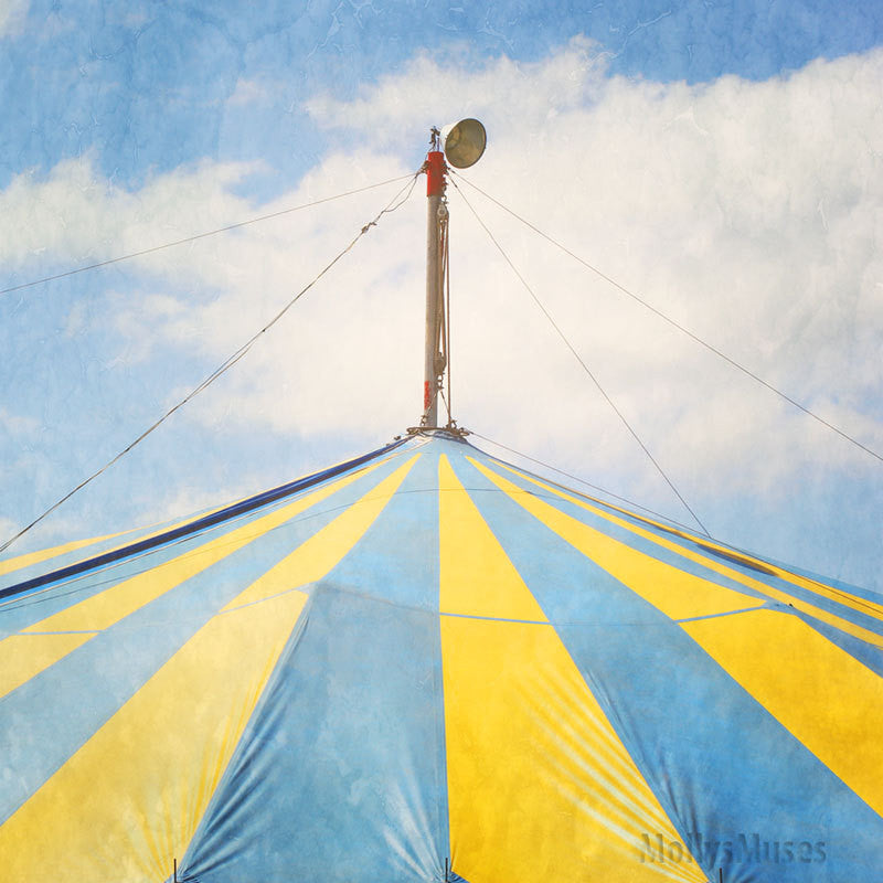 Big Top Circus Photograph - Blue and Yellow Abstract