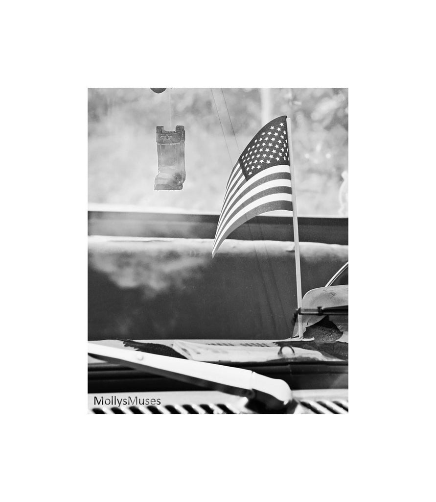 Patriotic Photograph - Black and White - American Flag