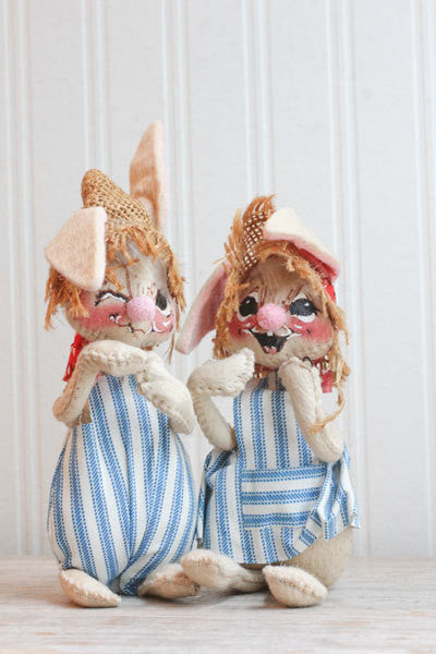 Vintage Annalee Rabbit Dolls - 1960's Country Farmer Bunny Rabbits