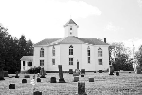 Black and White Cemetery Landscape Photo - Mt Nebo Church