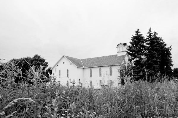 Country Church Photograph - Black and White