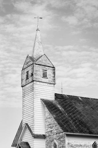 Black and White Church Steeple Photograph - Minimalist Country Decor