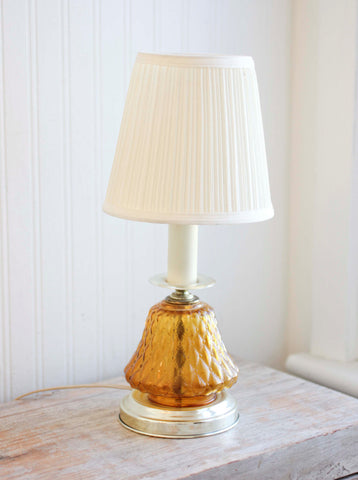 Vintage Table Lamp - Amber Glass - Retro Bedside Light,