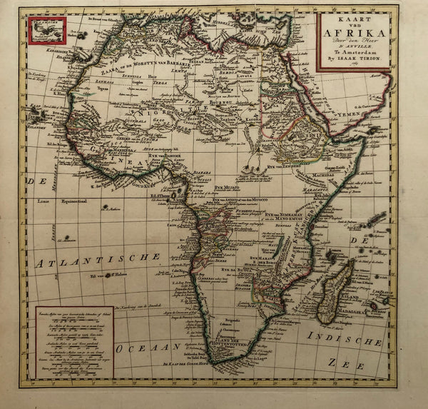 'Kaart van Afrika. Door den Heer D'Anville' Amsterdam by Isaak Tirion, 1763. Nice handcoloured map of Africa