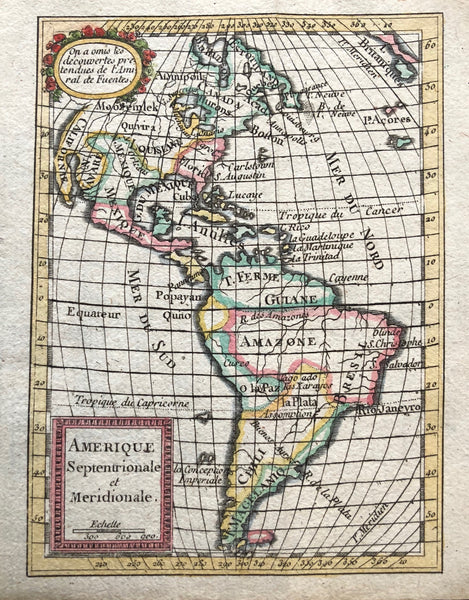 Map, antique map, miniature, america, north america, south america, amerique, old map, antilles, california, louisiana, mexico, amazone, boston, hudson, chili, la plata, expilly,
